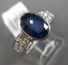 ESTATE 3.26CT DIAMOND & AAA OVAL SAPPHIRE 14KT WHITE GOLD BEZEL ENGAGEMENT RING