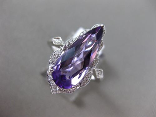 LARGE 3.50CT DIAMOND & AAA PEAR SHAPE AMETHYST 14KT WHITE GOLD 3D FILIGREE RING
