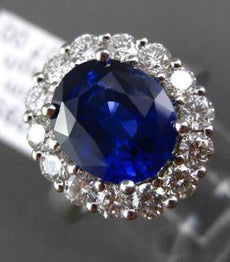 ESTATE LARGE 2.85CT DIAMOND AAA GIA SAPPHIRE 18K WHITE GOLD OVAL ENGAGEMENT RING