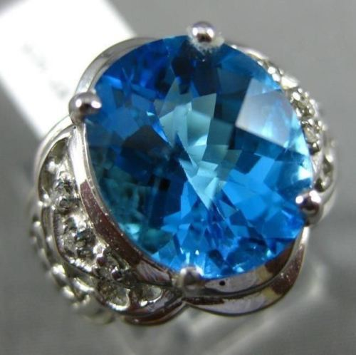 LARGE 3.03CT DIAMOND & AAA OVAL BLUE TOPAZ 14K WHITE GOLD OPEN FILIGREE FUN RING