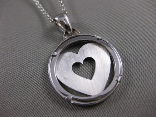 ESTATE LARGE 18K WHITE GOLD OPEN HEART CIRCLE PENDANT + DIAMOND CUT CHAIN #21253