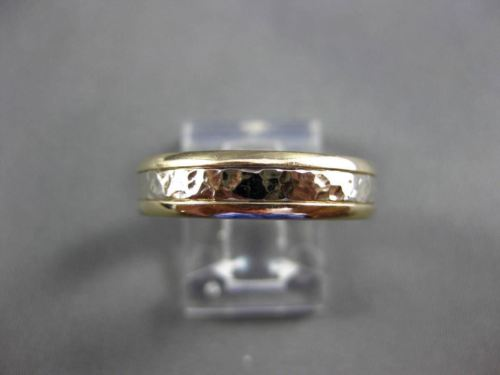 ESTATE 14KT WHITE & YELLOW GOLD HAMMER LOOK WEDDING ANNIVERSARY RING 5mm #13606