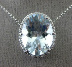 ESTATE LARGE 8.24CT DIAMOND & AQUAMARINE 14KT WHITE GOLD 3D HALO OVAL NECKLACE