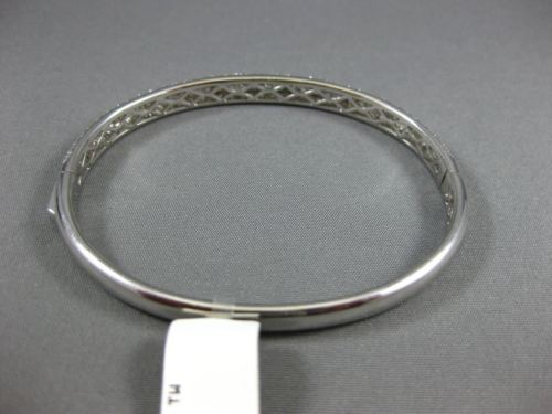 WIDE 4.99CT DIAMOND 18KT WHITE GOLD 3D MULTI ROW SEMI ETERNITY BANGLE BRACELET