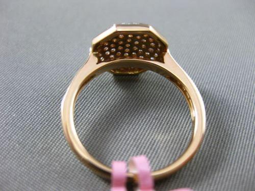 ESTATE WIDE .60CT DIAMOND 18KT WHITE & ROSE GOLD 3D HEXAGON CLUSTER CLASSIC RING