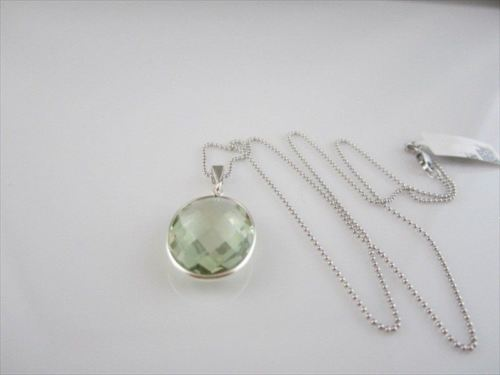 ANTIQUE 12CT GREEN AMETHYST 14K W GOLD PENDANT W/ CHAIN