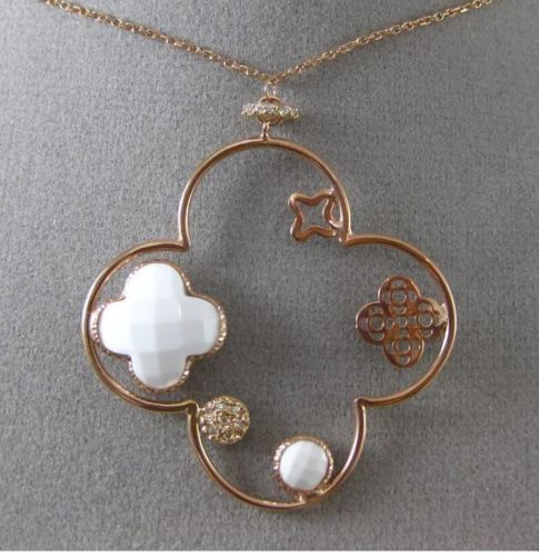 ESTATE LARGE .19CT DIAMOND & WHIITE QUARTZ 14KT ROSE GOLD 4 LEAF CLOVER NECKLACE