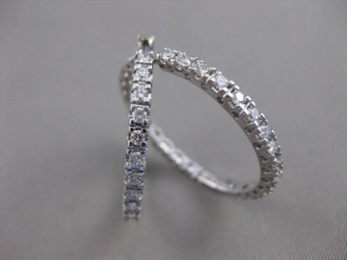 "ESTATE 2.34CTW DIAMOND 14K WHITE GOLD EARRINGS LARGE 30MM 1"" HOOP F/G VSSI 19740"