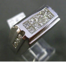 ESTATE WIDE 1.40CT DIAMOND ROUND & PRINCESS 18K WHITE GOLD RECTANGULAR MENS RING
