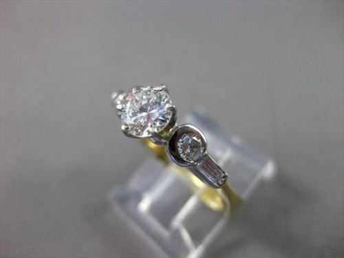 ESTATE 1.0CT DIAMOND 14KT TWO TONE GOLD ROUND & BAGUETTE ENGAGEMENT RING #3338
