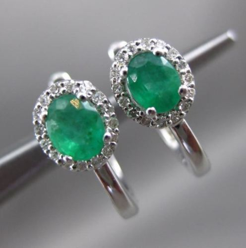 .72CT DIAMOND & AAA EMERALD 14KT WHITE GOLD 3D OVAL LEVERBACK HANGING EARRINGS