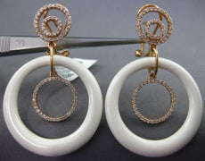 LARGE .83CT DIAMOND & WHITE ENAMEL 14KT ROSE GOLD MULTI CIRCULR HANGING EARRINGS