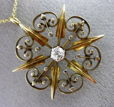 ANTIQUE .35CT OLD MINE DIAMOND 14KT YELLOW GOLD VICTORIAN FLOWER PENDANT #25516