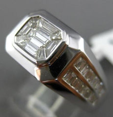ESTATE LARGE .93CT BAGUETTE DIAMOND 18K WHITE GOLD CLUSTER HANDCRAFTED MENS RING