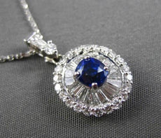 ANTIQUE 1.58CT DIAMOND & AAA SAPPHIRE 18KT WHITE GOLD FILIGREE PENDANT W/ CHAIN