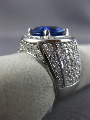 ESTATE EXTRA LARGE 7.74CT DIAMOND & AAA SAPPHIRE 14KT WHITE GOLD OVAL MENS RING