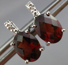 ESTATE 2.97CT DIAMOND & AAA EXTRA FACET GARNET 14K WHITE GOLD OVAL STUD EARRINGS