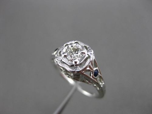 ANTIQUE .26CT OLD MINE DIAMOND & SAPPHIRE 14KT WHITE GOLD ENGAGEMENT RING #23700