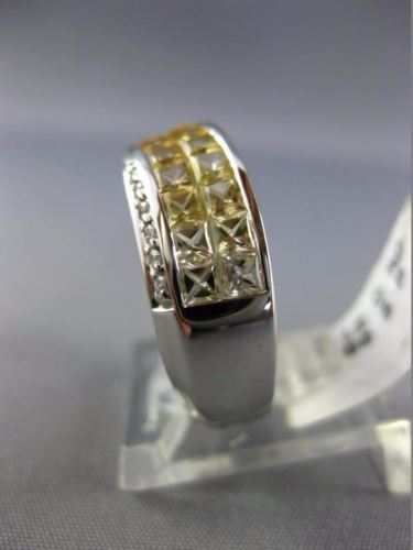 ESTATE 2.72CT DIAMOND YELLOW SAPPHIRE 14K WHITE GOLD GRADUATING CRISS CROSS RING