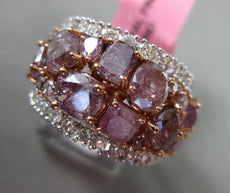 ESTATE LARGE 6.85CT FANCY MULTI COLOR DIAMOND 18K 2 TONE GOLD ANNIVERSARY RING