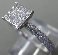 LARGE .75CT DIAMOND 14KT WHITE GOLD SQUARE INVISIBLE DOUBLE ROW ENGAGEMENT RING