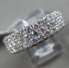 ESTATE WIDE 5.0CT DIAMOND 18KT WHITE GOLD 3D MULTI ROW ETERNITY ANNIVERSARY RING