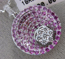 ESTATE 2.26CT DIAMOND & AAA PINK SAPPHIRE 18K WHITE GOLD 3D ROUND FLOWER PENDANT