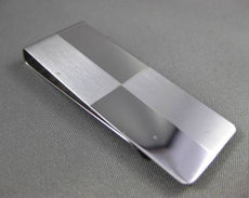 ESTATE LARGE 14KT WHITE GOLD CHECKERED MATTE & SHINY MONEY CLIP #ELVINA54