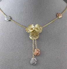 ESTATE .10CT DIAMOND 14K TRI COLOR GOLD HANDCRAFTED MULTI FLOWER LARIAT NECKLACE