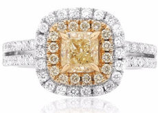 EGL LARGE 1.77CT WHITE & FANCY YELLOW DIAMOND 18KT 2 TONE GOLD ENGAGEMENT RING
