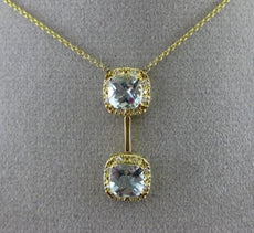 ESTATE 1.94CT DIAMOND & AAA AQUAMARINE 14K YELLOW GOLD 3D HALO FLOATING NECKLACE