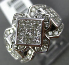 LARGE 2CT ROUND & PRINCESS DIAMOND 14TK WHITE GOLD FLOWER SQUARE ENGAGEMENT RING