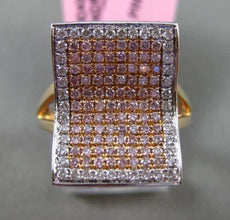 ESTATE LARGE .68CT WHITE & PINK DIAMOND 18K WHITE & ROSE GOLD WAVE COCKTAIL RING