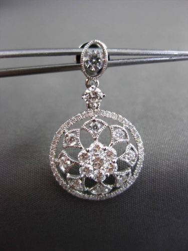 ANTIQUE 1.41CT ROUND DIAMOND 18KT WHITE GOLD FLOWER FILIGREE HANGING EARRINGS