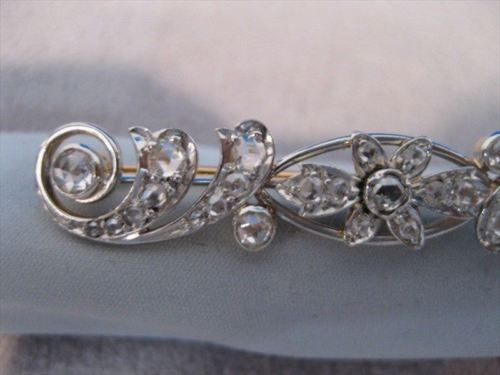ANTIQUE 1.20CT OLD MINE DIAMOND 14K WHITE GOLD FLOWER FILIGREE PIN BROOCH #19163