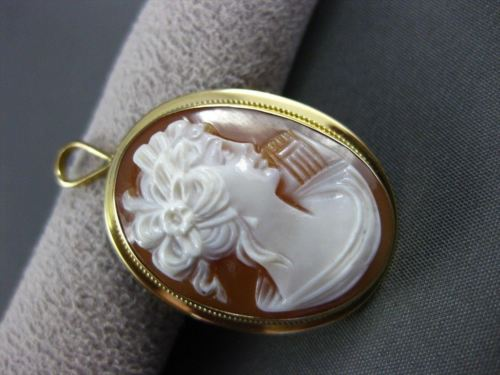 ANTIQUE LARGE 18KT YELLOW GOLD FILIGREE LADY SHELL CAMEO PENDANT & BROOCH #19491