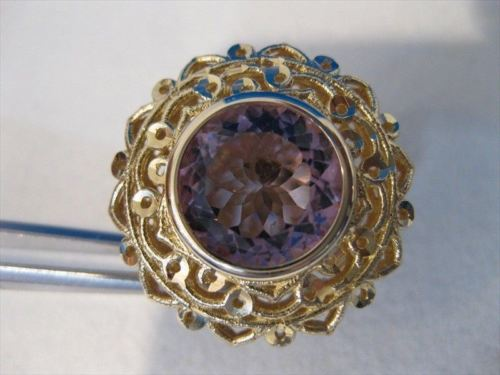 LARGE ANTIQUE 2OCTW AMETHYST 14K YELLOW GOLD FILIGREE CLIP EARRINGS 25MM #769