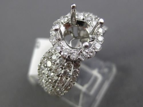 WIDE 1.95CT DIAMOND 18KT WHITE GOLD 3D HALO FILIGREE SEMI MOUNT ENGAGEMENT RING