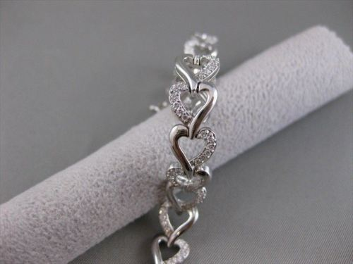 "ANTIQUE 1.71CTW DIAMOND 14KT WHITE GOLD LOVE HEART BRACELET 7.5"" 9MM VVS #18514"