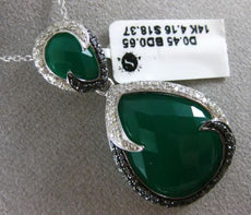 ESTATE LARGE 23.63CT WHITE & BLACK DIAMOND & GREEN AGATE 14KT WHITE GOLD PENDANT
