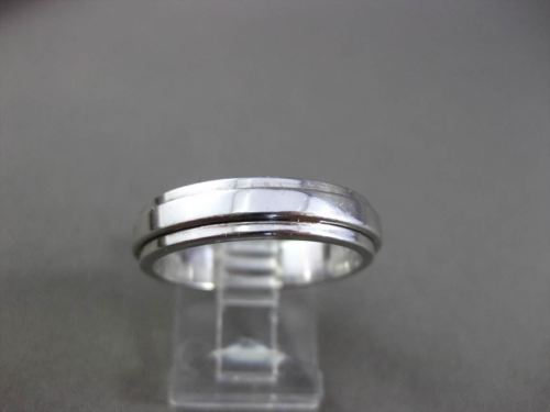 ESTATE 14KT WHITE GOLD 3D SOLID MENS WEDDING ANNIVERSARY BAND RING 5mm #820