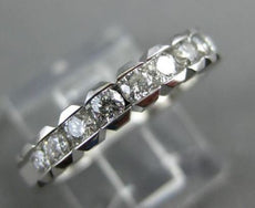 ESTATE .50CT DIAMOND 14KT WHITE GOLD 9 STONE SEMI BEZEL ETOILE ANNIVERSARY RING