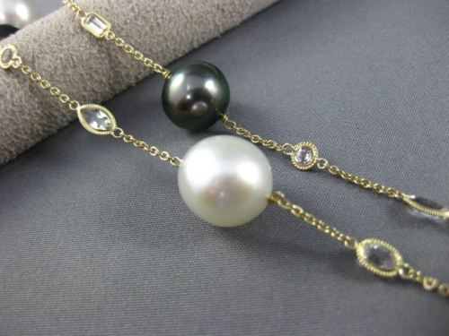 ESTATE LONG 14KT YELLOW GOLD 3D QUARTZ & MULTI COLOR PEARL BY THE YARD NECKLACE