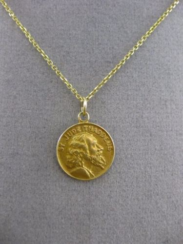 ANTIQUE 14KT YELLOW GOLD HANDCRAFTED SAINT JUDE THADDEUS PENDANT & CHAIN #24987