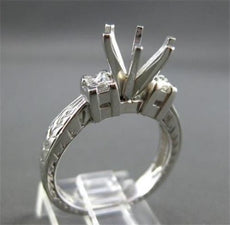 ESTATE .35CT DIAMOND 14KT WHITE GOLD FILIGREE SEMI MOUNT ENGAGEMENT RING #22421