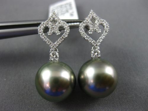 .42CT DIAMOND & AAA TAHITIAN PEARL 18K WHITE GOLD OPEN FILIGREE HANGING EARRINGS