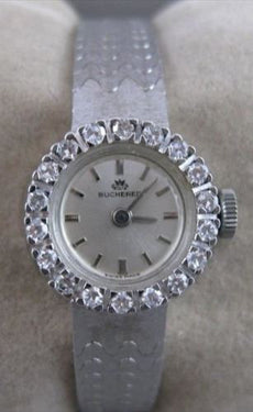 "ANTIQUE BUCHERER OLD MINE DIAMOND 18KT WHITE GOLD MECHANICAL WATCH 6.25"" #20763"