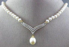 ESTATE .95CT DIAMOND & PEARL 14KT WHITE & YELLOW GOLD V SHAPE FLOATING NECKLACE