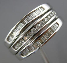 WIDE .50CT ROUND & BAGUETTE DIAMOND 14K WHITE GOLD STACKABLE 3 BAND INSERT RING
