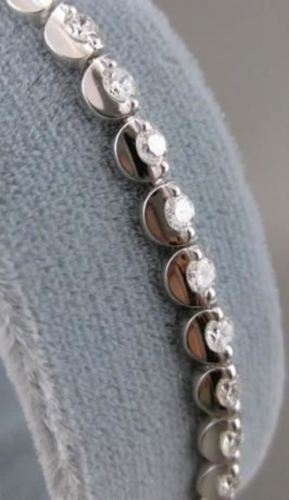 ANTIQUE 2.26CTW DIAMOND 18KT WHITE GOLD ROUND LINK TENNIS BRACELET FG VVS #14542